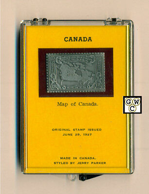 Canada 1927 Map of Canada  Silver Stamp Styled  by Jerry Parker (OOAK)