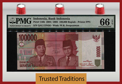 TT PK 146b 2004 INDONESIA 100000 RUPIAH LADDER SERIAL # 123456 PMG 66 EPQ GEM