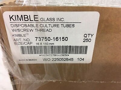 Kimble 16 x 150 mm culture tubes with screw threads. Lot of 1 opened case