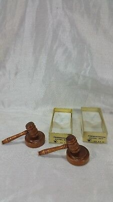 C.r. Gibson Solid Wood Miniature Gavel & Sound Block Set Ka-10 Two Units New Set