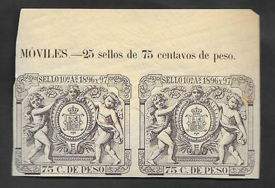 SL-4 Spain,caribbean,antilles,pair of customs revenue stamps, 1896-1897  1