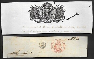 "Spain lot of 2 cut notarized sealed paper ""Ilustres"" type, 1839-1856"