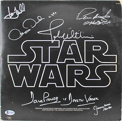 Star Wars (6) Hamill, Prowse, Bulloch +3 Signed Album Cover W/ Vinyl BAS #A70460