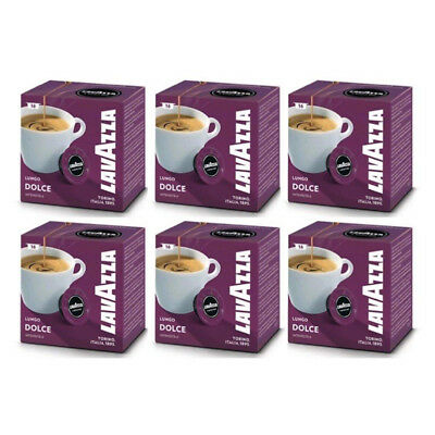 Lavazza A Modo Mio Lungo Dolce Capsules Coffee Machine Pack of 96 Pods 6 Boxes