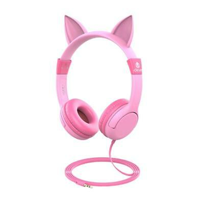 Kids Headphones 85dB Volume Limit Over Ear Headset with Mic Gift for Girls Pink