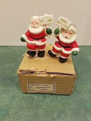 Vintage Porcelain Salt Pepper Shakers  Merry Christmas Santa Happy New Year