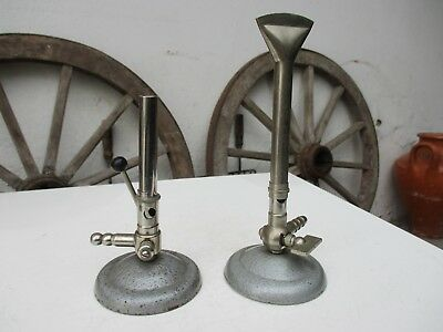 Vintage Lot Two Gas Burner Bunsen Laboratory Tool With Tap and Air Regulator
