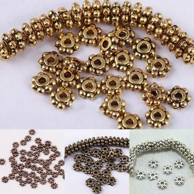 Wholesale 4MM/6MM 100-1000Pcs Tibetan Silver Daisy Spacer Bead Jewelry Making
