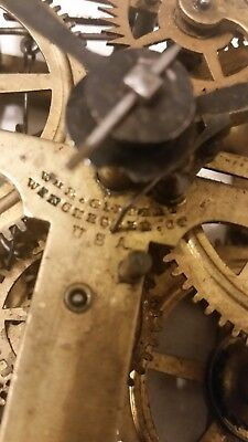 Antique Wm L. Gilbert brass weight driver clock movement / Winchester Ct. 1850's