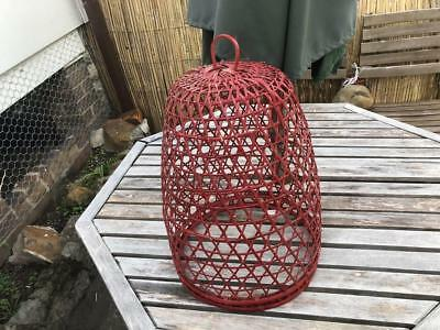 Vintage Retro Style Cane Basket Lampshade  Ceiling lamp Red