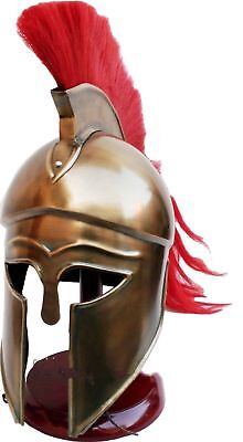 Greek Corinthian Helmet Red Plume Armor Medieval Knight Spartan WITH LINER