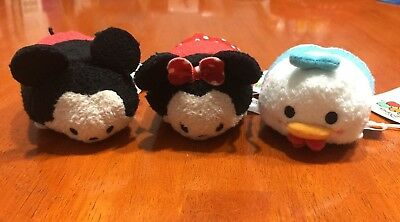 Disney Mini Tsum Tsum SET OF 3- Mickey Mouse, Minnie Mouse, Donald Duck Plush