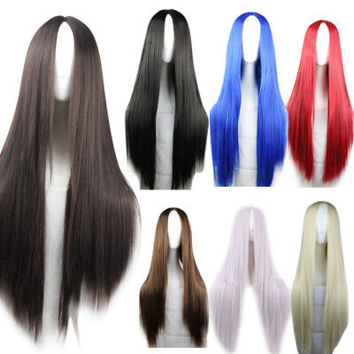 75cm Women Full Wig Long Straight Hair Wigs Cartoon Anime Cosplay Party Costume
