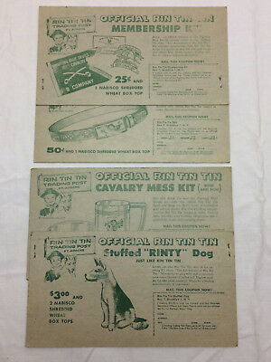 Vintage 1956 Advertising Rin Tin Tin Trading Post 4 Cards Nabisco Coupons