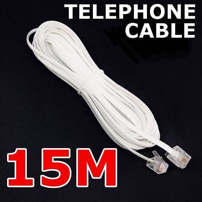 15M Telephone Phone Cord Cable Plug Extension Meter for ADSL ADSL 2 Filter Fax