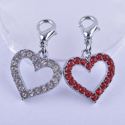 QA_ LC_ Pet Dog Rhinestone Heart Tag Collar Pendant Charm Jewelry Accessories