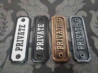 vintage victorian PRIVATE door sign cast metal effect shabby chic retro plaque