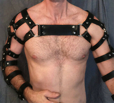 Men PU Leather Bondage Body Harness Chest Arms Belts Bands Armor Braces Costumes