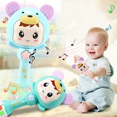 Infant Kid Newborn Baby Cartoon Musical Rattle Teether Stick Early Learning Toy