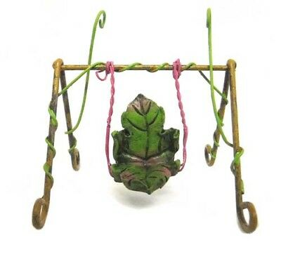 "Miniature Fairy Garden Faery Leaf Swing Pixie Play Ground-3.5""H"