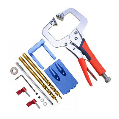 Pocket Hole Jig Kit System For Kreg Style Woodworking Joinery Step Drilling Tool