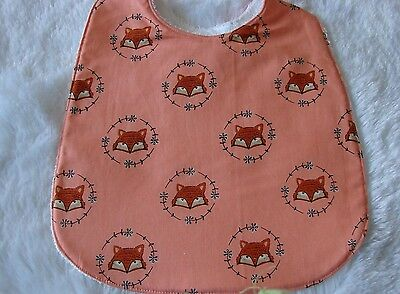Brown Fox Faces Orange Baby Bib Cotton Front Towelling Back Handmade