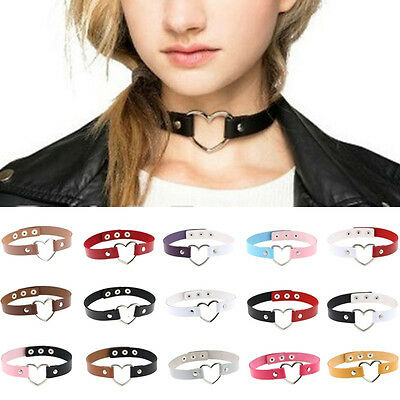 Qa_ Women's Punk Faux Leather Love Heart Collar Choker Necklace Charm Gift Fad