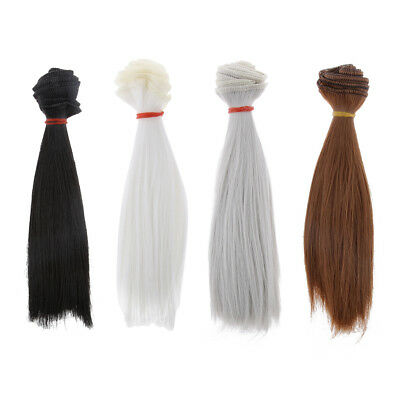 4Pcs 15x100cm DIY Wig Straight Hair for BJD SD Barbie Dolls