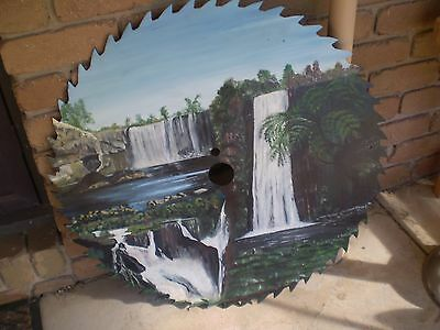 X-LARGE 76cms HANDPAINTED SAW MILL BLADE 3 WATER FALLS SCENE - MANCAVE - GARDEN