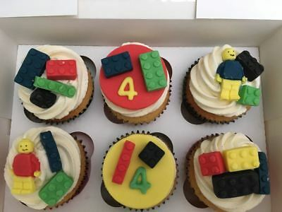 Fondant Edible Cupcake Toppers Lego Birthday age personalised x 6