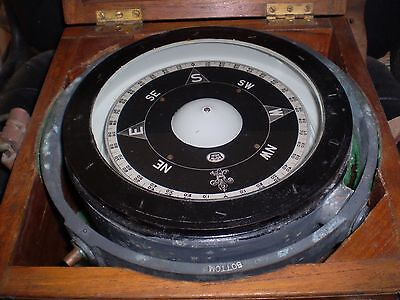 GENUINE LARGE 12.4 KILO BRASS SHIPS GIMBAL COMPASS 26cms WIDE IN DOVETAIL BOX