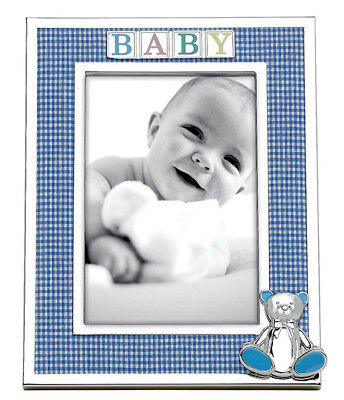 "Reed & Barton Silverplate Baby Frame 4x6"" Blue Gingham Fabric, 3D Bear #2646 New"