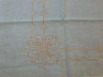 VINTAGE  Peach HAND EMBROIDERED TABLECLOTH 36 x 31""