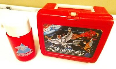 Silverhawks 1986 Telepix Thermos lunchbox with cup and lid