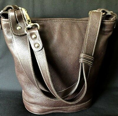 Roots Vintage Distressed Leather Zipper Bucket Bag Shoulder/Crossbody Brown