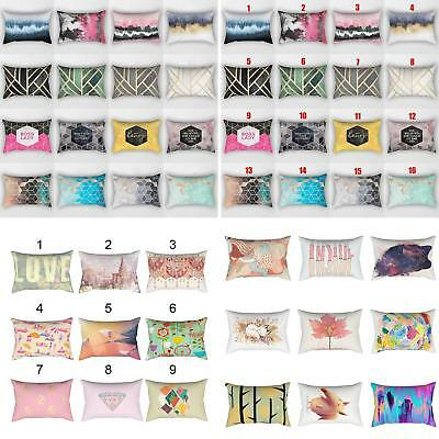 QA_ Colored Geometric Pillowcase Home Bedroom Cushion Cover Sofa Decor 30x50cm