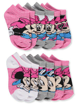 Disney Minnie Mouse Baby Girls' 6-Pack Ankle Socks (Sizes 6 - 11)