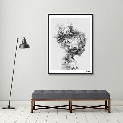 QA_ Modern Nordic Decor Black White Girl Poster Painting Wall Art Pictures Exo