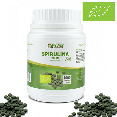 100% Superfood Organic BIO Certified Green Spirulina 1000 Tablets !