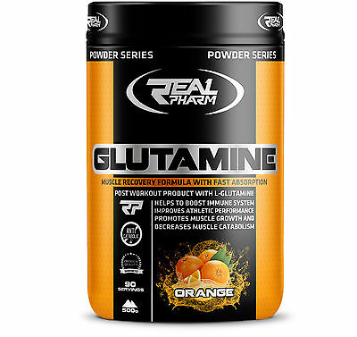 Real Pharm Glutamine Amino Acid 500g Powder - 90 Serv. Muscle Build And Recovery