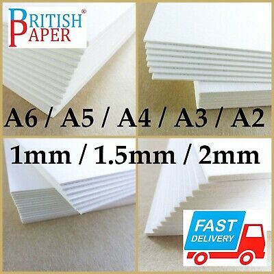 A5 A4 A3 A2 WHITE BACKING BOARD CRAFT CARD PAPER LOT GREYBOARD 1 - 2mm CARDBOARD
