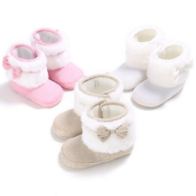QA_ EG_ Baby Girls Soft Sole Bowknot Crib Shoes Toddler Winter Warm Snow Boots