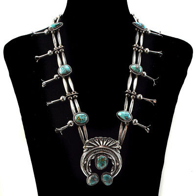 Navajo Turquoise and Silver Squash Blossom Necklace, c. 1970s
