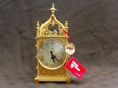 Vintage Imhof Gold Plated Brass 8 Day Striking Cathedral Desk/Mantel Clock L@@K!