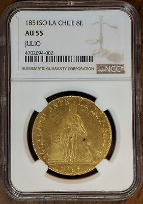1851 SO L.A. Chile Gold 8 Escudos NGC AU55 Julio