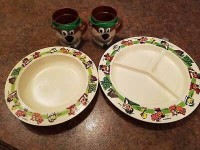 Vintage Yogi Bear Jellystone Park Htf Dishes Plate Bowl And 2 Cups