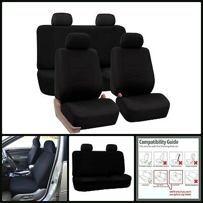 Universal Fit Full Set Flat Cloth Breathable Fabric Car Seat Covers Black New