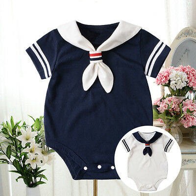 Qa_ Infant Baby Boys Girls Summer Short Sleeve Sailor Cotton Romper Clothes St