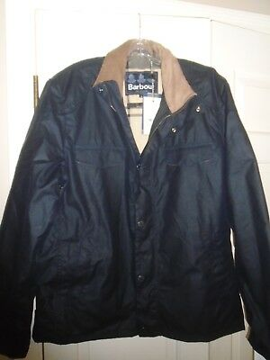 Barbour Waxed Cotton Navy Lomond Field Jacket NWT Large $399