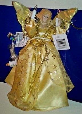 """Vintage 10"""" Porcelain Christmas """"ANGEL"""" Tree Topper Beads  Gold colored Trim #P"""